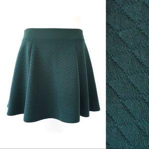 Modbe Quilted Skater Skirt Dark Green NWT